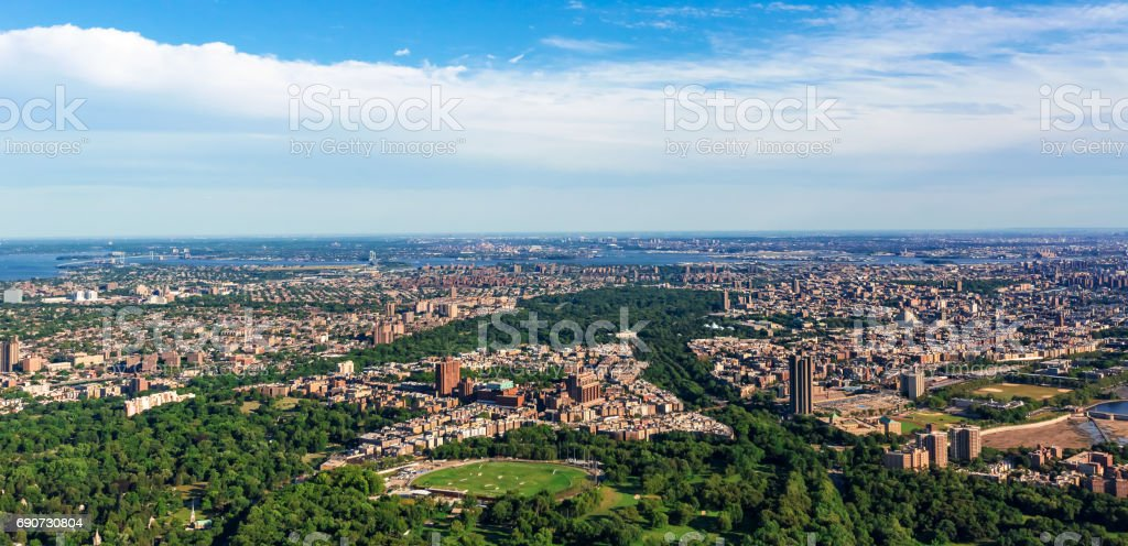 Aerial view of the Bronx, NY stock photo