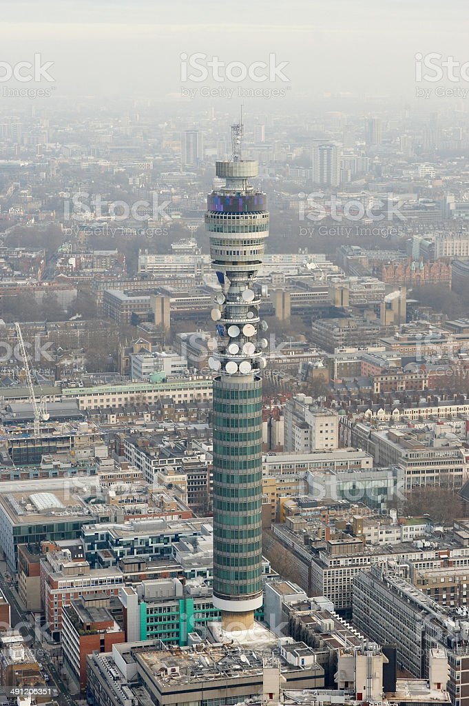 Aerial View of the BT Tower stock photo
