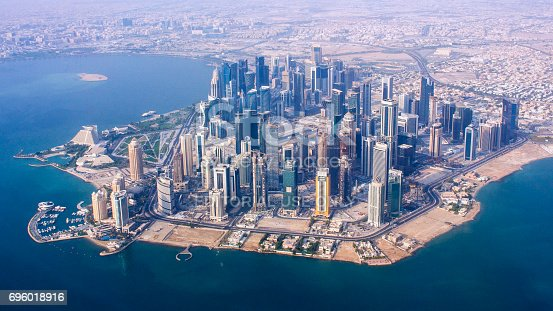 istock Aerial view of the business district of Doha city, capital of Qatar 696018916