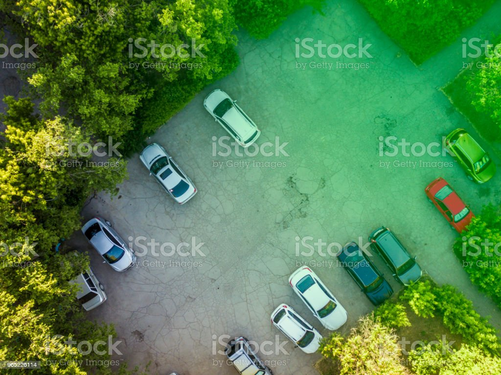aerial view of the car parking zone between the trees royalty-free stock photo