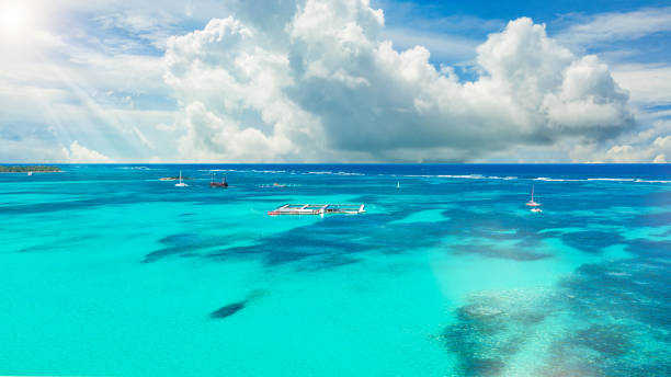 aerial view of the Caribbean Sea, Punta Cana, Dominican Republic stock photo