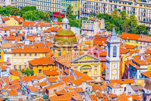 Aerial view of the Cathedral of Nice, France