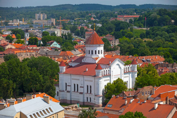 Aerial view of the Cathedral of the Theotokos in Vilnius stock photo
