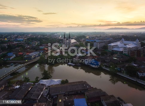 Aerial view of The Catholic Church at sunset, Chanthaburi, Thailand.