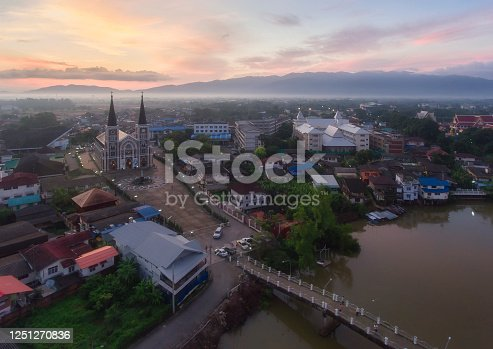 Aerial view of The Catholic Church at sunset, Chanthaburi, Thailand.