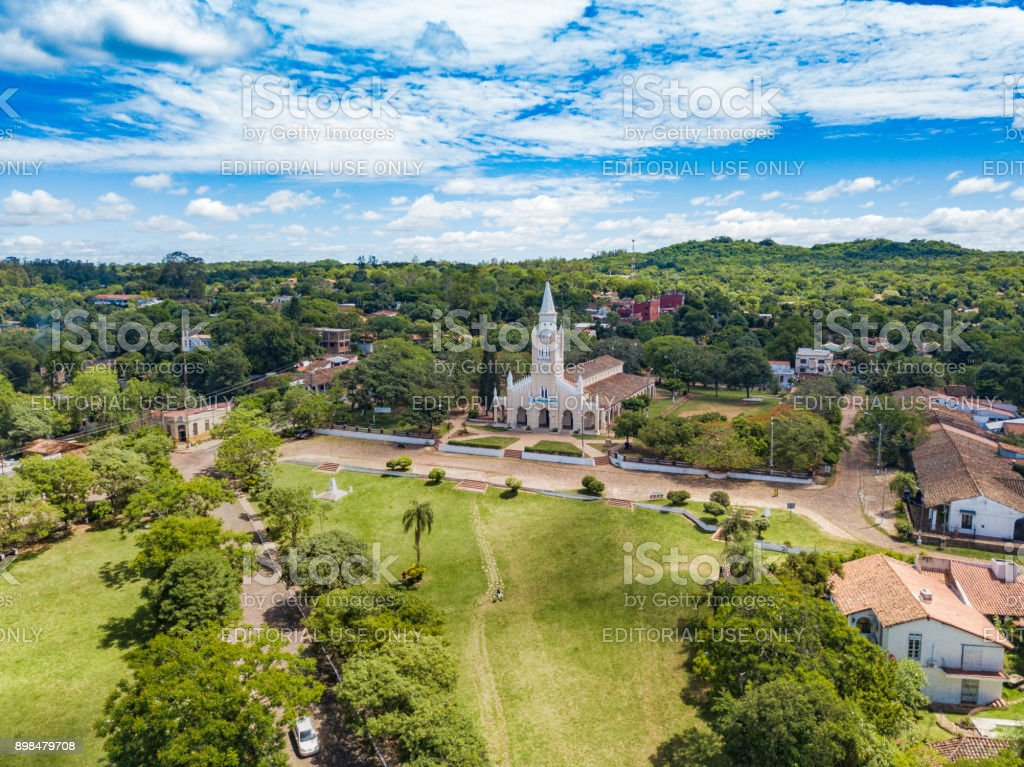 Aerial view of the catholic church 'Iglesia Virgen de la Candelaria' of Aregua in Paraguay stock photo