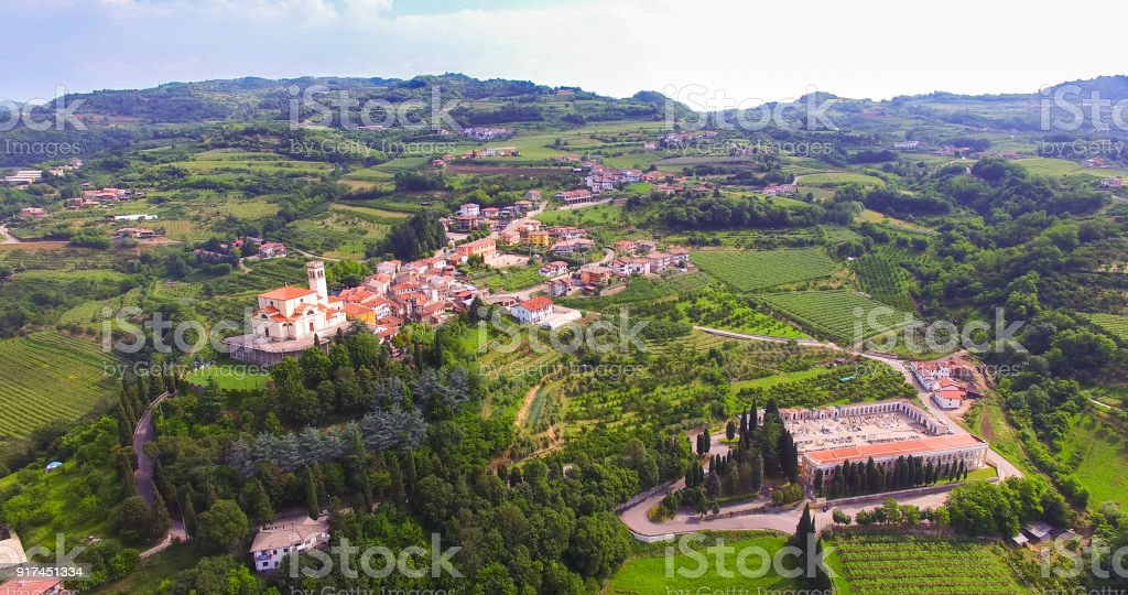 Aerial view of the center of San Giovanni Ilarione and St. Catherine's Church in Villa, Verona, Italy. stock photo