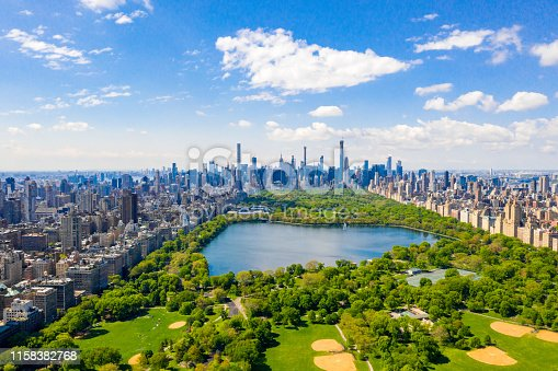 istock Aerial view of the Central park in New York with golf fields 1158382768