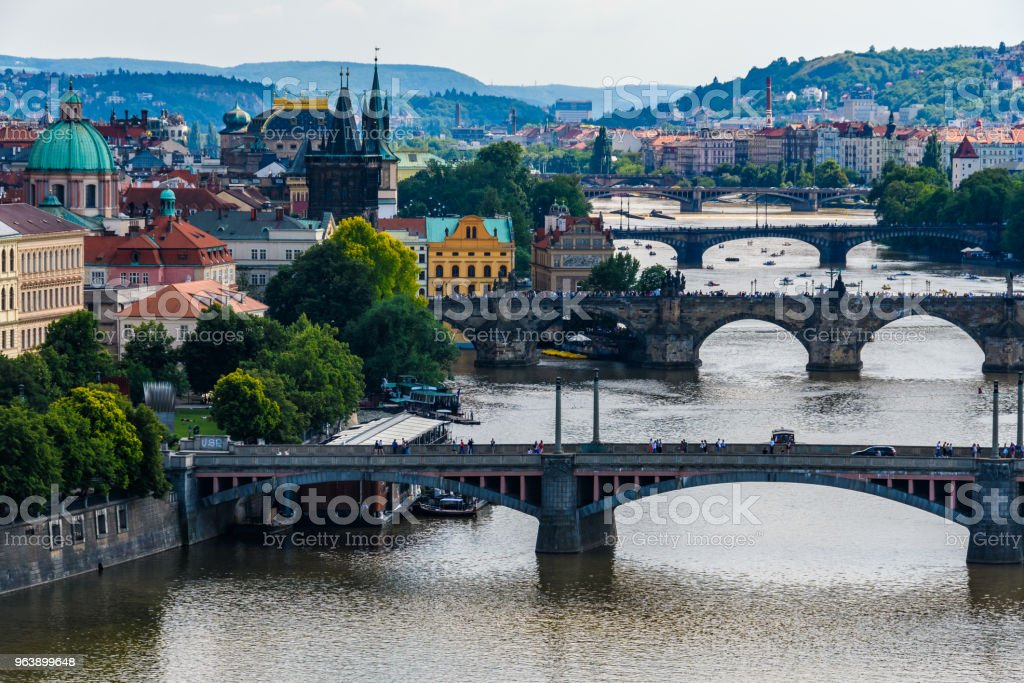 Aerial view of the Charles Bridge and other bridges on the Vlatava River from  Letna Garden in Prague, Czech Republic - Royalty-free Aerial View Stock Photo