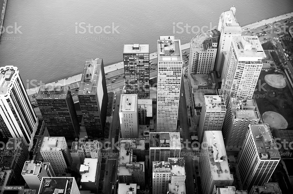 Aerial View of the Chicago Lakefront stock photo