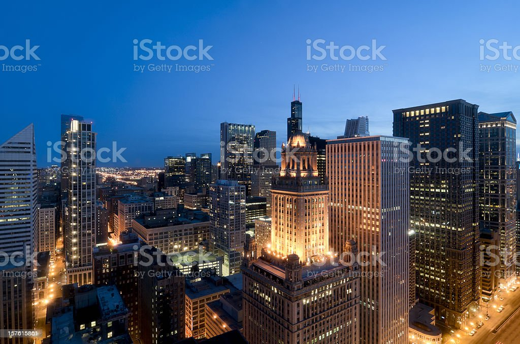 Aerial View of the Chicago Loop at Dusk stock photo