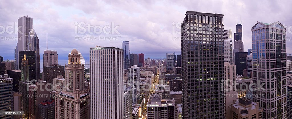 Aerial View of the Chicago Loop at Sunset (XXXL) stock photo