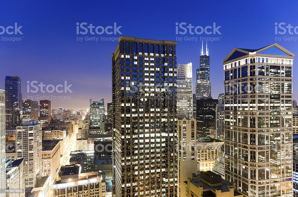 Aerial View of the Chicago Loop at Twilight stock photo