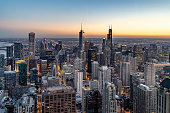 istock Aerial View of the Chicago Skyline at Sunset 1141278442