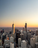 istock Aerial View of the Chicago Skyline at Sunset 1141278484