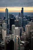 istock Aerial View of the Chicago Skyline at Sunset 1141279062