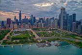 istock Aerial View of the Chicago Skyline from above the Harbor on Lake Michigan 1151257309