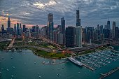 istock Aerial View of the Chicago Skyline from above the Harbor on Lake Michigan 1151257465
