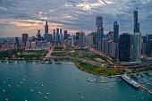 istock Aerial View of the Chicago Skyline from above the Harbor on Lake Michigan 1151257517