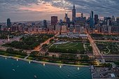 istock Aerial View of the Chicago Skyline from above the Harbor on Lake Michigan 1151257640