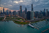 istock Aerial View of the Chicago Skyline from above the Harbor on Lake Michigan 1218675612