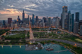 istock Aerial View of the Chicago Skyline from above the Harbor on Lake Michigan 1218675634