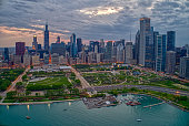 istock Aerial View of the Chicago Skyline from above the Harbor on Lake Michigan 1218675639