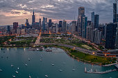 istock Aerial View of the Chicago Skyline from above the Harbor on Lake Michigan 1218675646