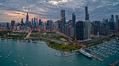 istock Aerial View of the Chicago Skyline from above the Harbor on Lake Michigan 1218676162