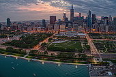istock Aerial View of the Chicago Skyline from above the Harbor on Lake Michigan 1218676165