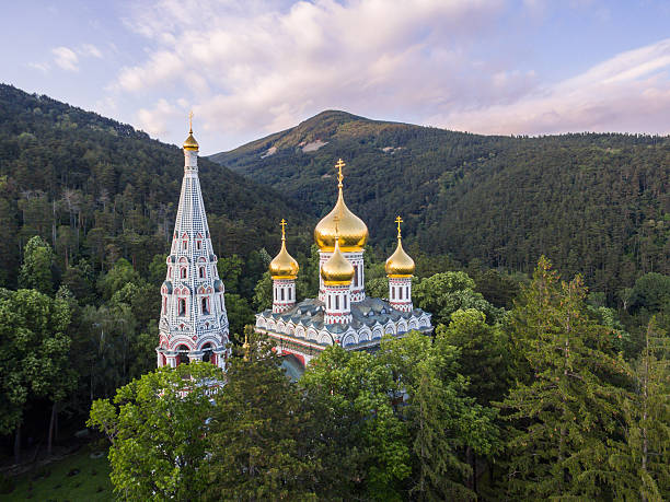 Aerial view of the Church near Shipka stock photo