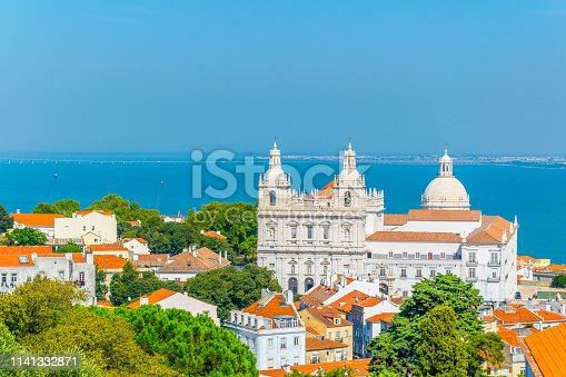 aerial view of the church of sao vicente and national pantheon in Lisbon, Lisboa.