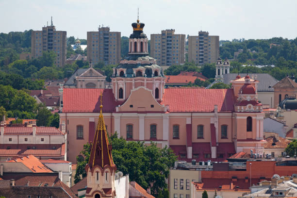 Aerial view of the Church of St. Casimir in Vilnius stock photo