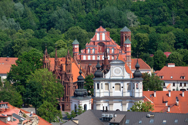 Aerial view of the Church of St Michael in Vilnius stock photo