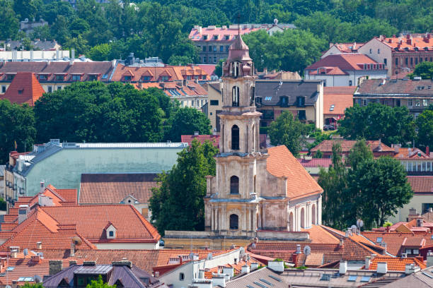 Aerial view of the Church of the Blessed Virgin Mary of Consolation in Vilnius stock photo