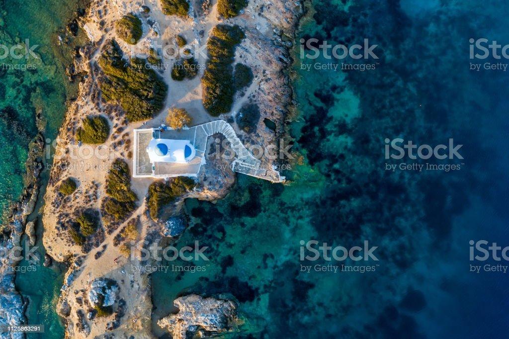 Aerial view of the church St Panteleimon in the Katapola vilage, Amorgos island, Cyclades, Aegean, Greece stock photo