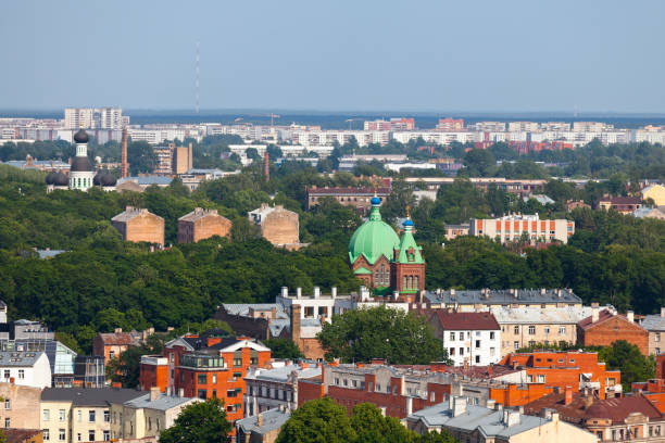 Aerial view of the churches of All Saints and St. John the Forerunner in Riga stock photo