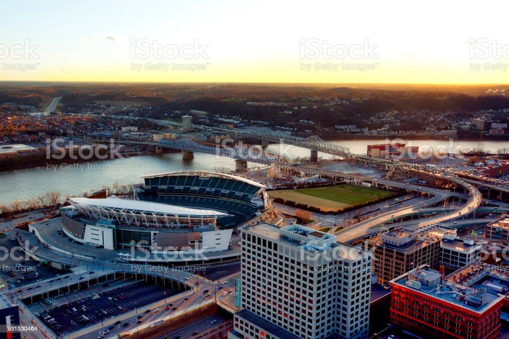 Aerial view of the Cincinnati, Ohio skyline stock photo