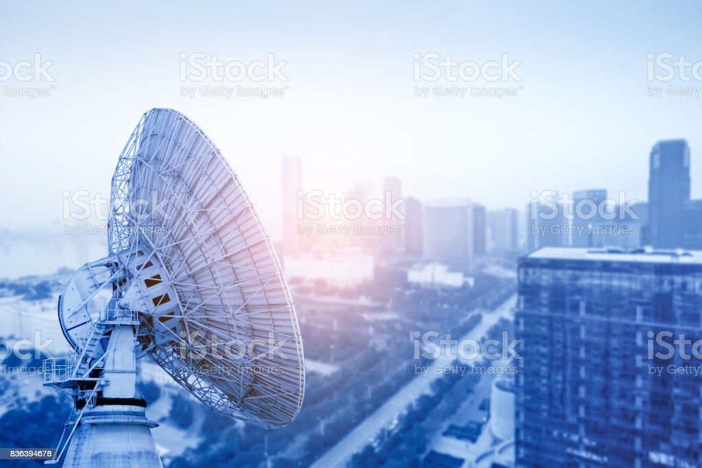 Aerial view of the city and the dish stock photo