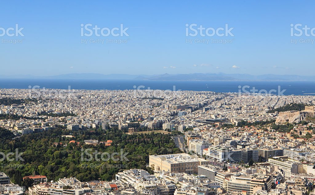 Aerial view of the city, Athens, Greece royalty-free stock photo