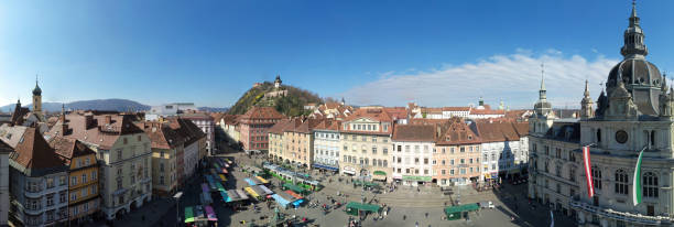 Aerial view of the city center of Graz, Austria stock photo
