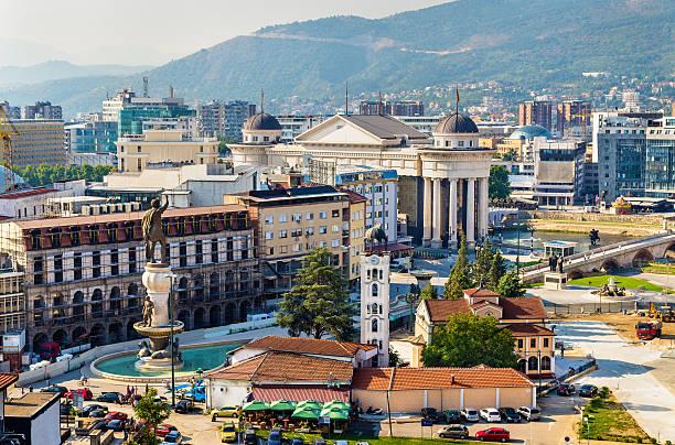 aerial view of the city centre of skopje - macedonia - üsküp stok fotoğraflar ve resimler
