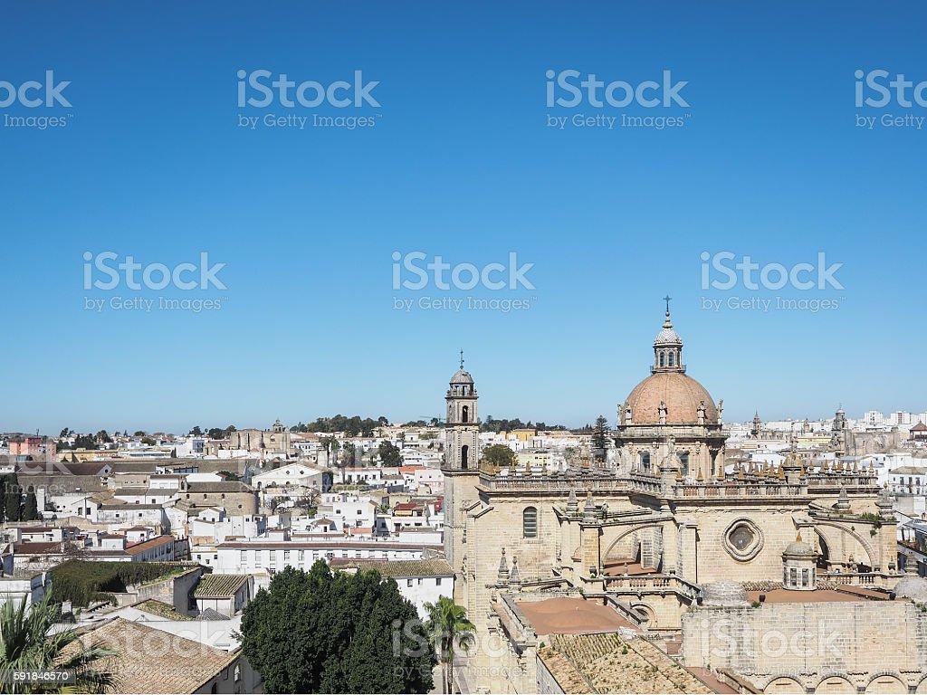 Aerial view of the city Jerez de la Frontera stock photo