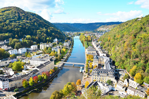 Aerial view of the city of Bad Ems. View of the Lan River and the city.