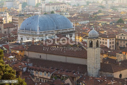 Aerial view of the city Brescia and Loggia palace