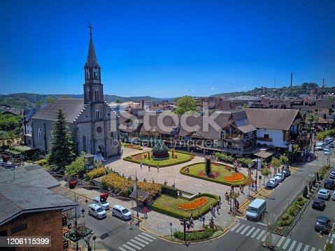 istock Aerial view of the city of Gramado next to Canela, Serra Gaúcha, Rio Grande do Sul, Brazil. 1206115399