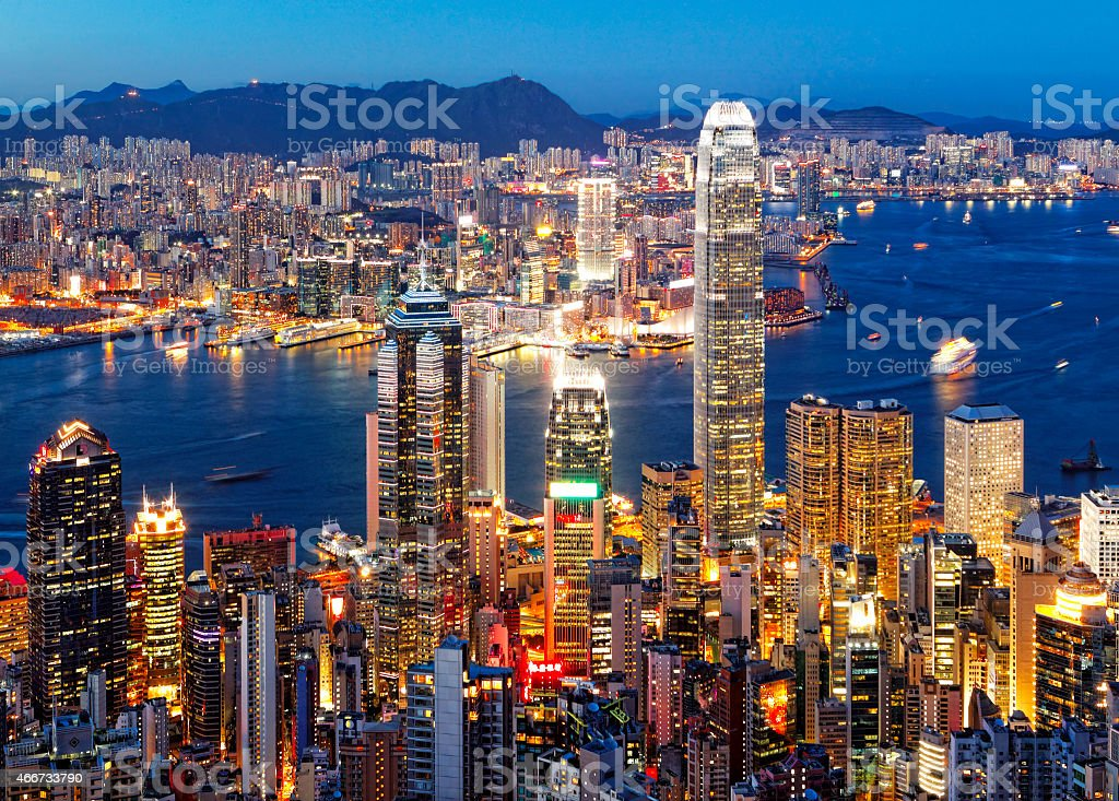 Aerial view of the city of Hong Kong stock photo