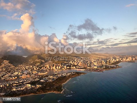 The aerial view of the city of Honolulu in Oahu of Hawaii at sunset hour.