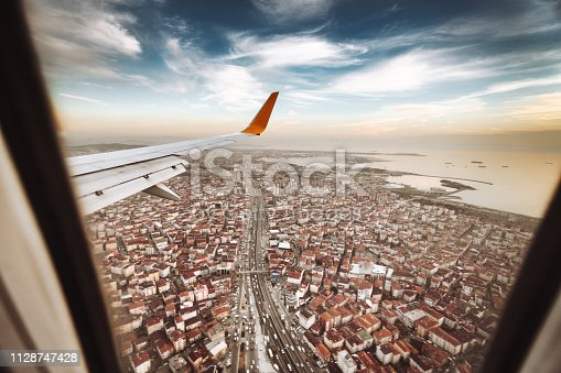 aerial view of the city of istanbul from the plane