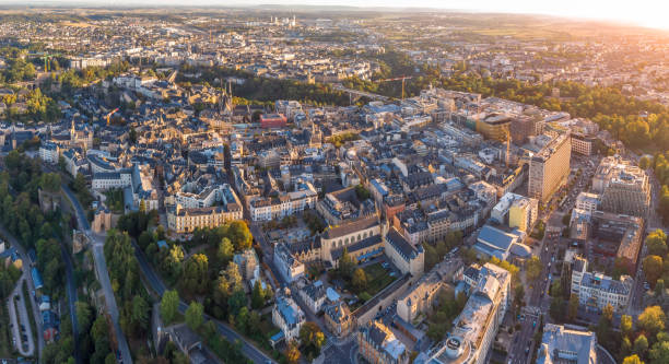 Aerial view of the city of Luxembourg stock photo